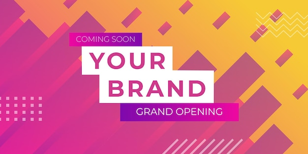 Grand opening banner background with abstract geometric shapes. vector illustration end of the season sale banner template