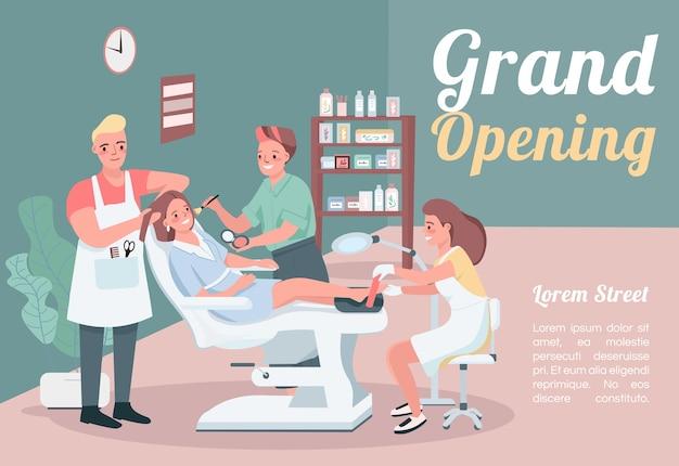 Grand opening banner flat template. brochure, poster concept design with cartoon characters. hairstylist visit. make up artist. beauty salon horizontal flyer, leaflet with place for text