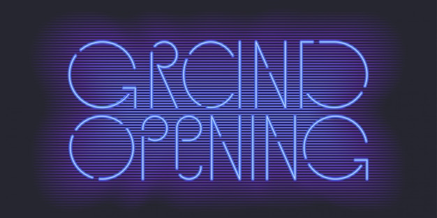 Grand opening banner, illustration. template festive design element with neon sign for opening shop, club ceremony