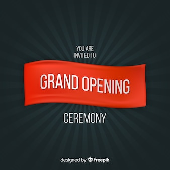 Grand opening banner in realistic style