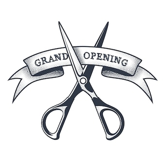 Grand opening banner - scissors cutting a ribbon, launching a project, vintage