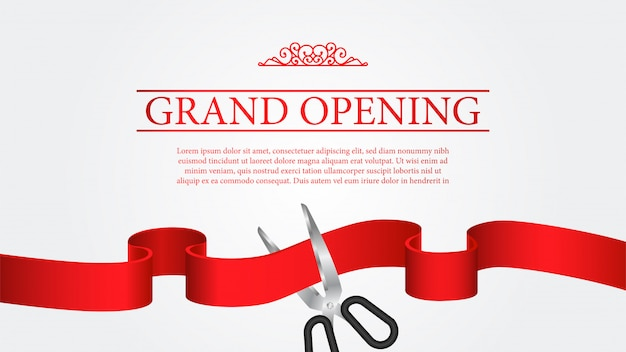 Grand opening banner template cutting ribbon ceremony