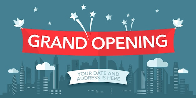 Grand opening   banner. template design element with city line and fireworks