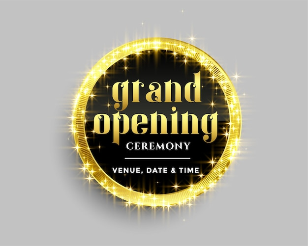 Grand opening banner template with golden sparkles design