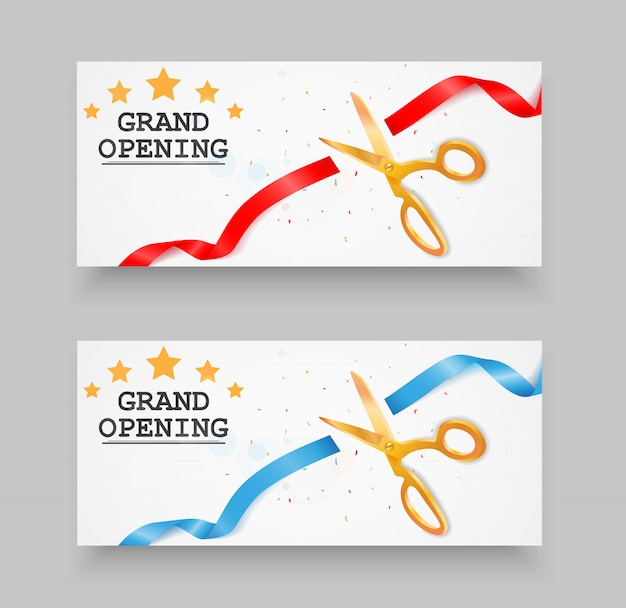 Grand opening banner with confetti and ribbon