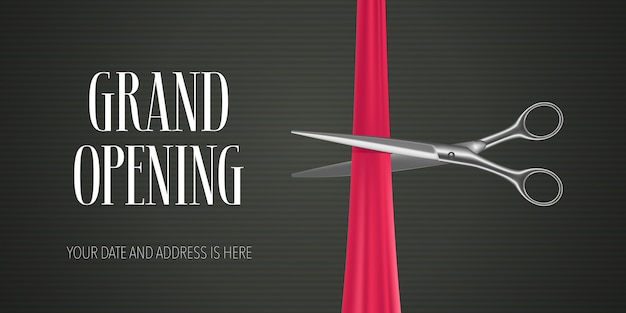 Баннер торжественного открытия с ножницами, перерезающими красную ленту для церемонии открытия