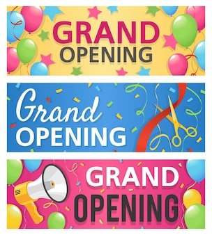 Grand opening banners design illustration