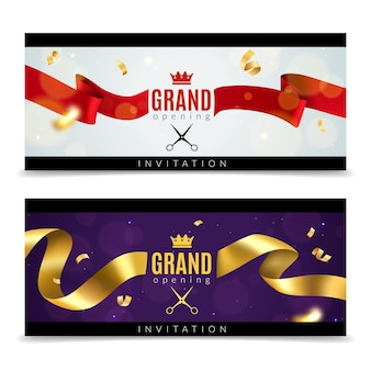 Grand opening banners with red and golden ribbons and scissors