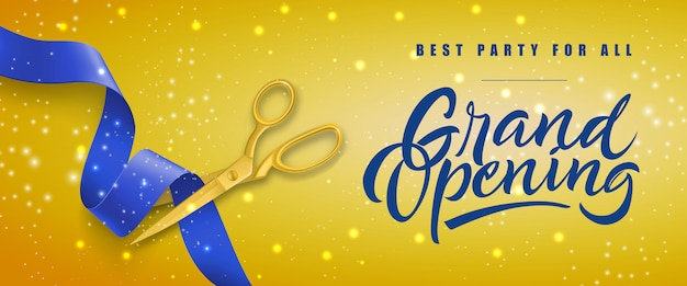 Grand opening, best party for all festive banner with gold scissors cutting blue ribbon
