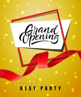 Grand opening, best party festive poster with frame and red waved ribbon