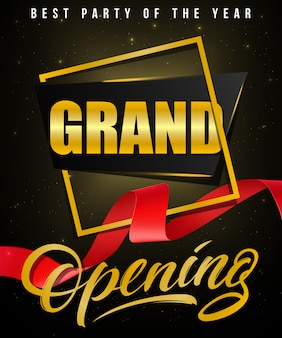 Grand opening, best party of the year festive poster with gold frame and red waved ribbon