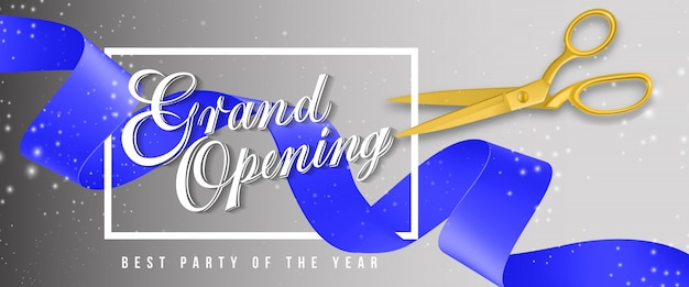 Grand opening, best party of the year sparkling banner with frame, gold scissors