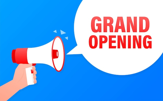 Grand opening blue banner in flat style.   illustration.