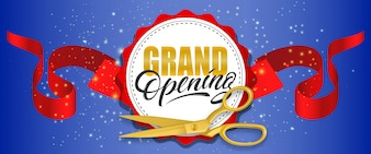 Grand opening blue sparkling banner with gold scissors, red ribbon