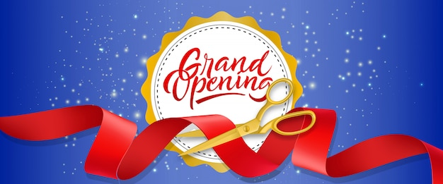 Grand opening blue sparkling banner with text on white circle and gold scissors