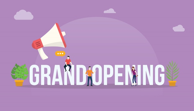 Grand opening business concept with megaphone