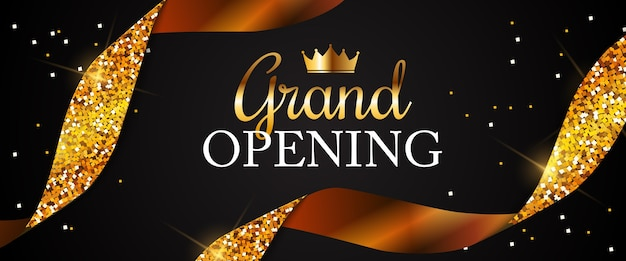 Grand opening card with golden ribbon background