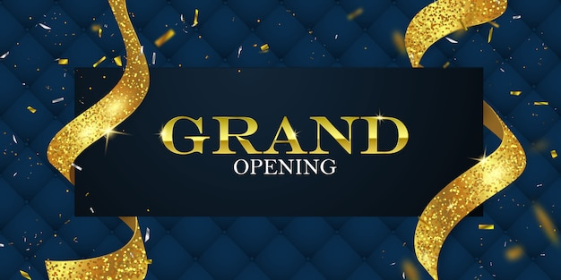 Grand opening card with golden ribbons
