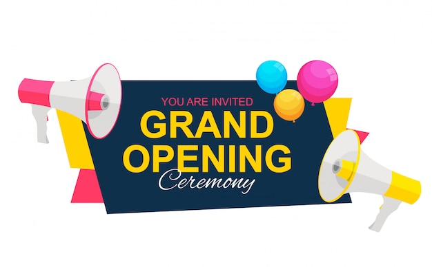 Grand opening card with megaphone and speech bubble