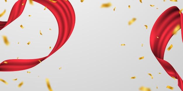 赤いリボンの背景のキラキラフレームテンプレートとグランドオープニングカード。