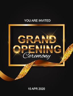Grand opening card with ribbon background.
