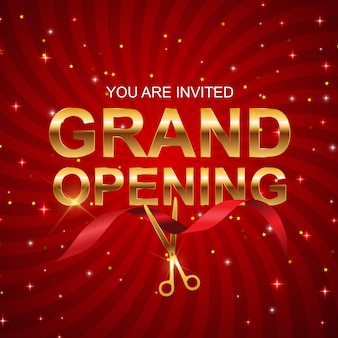 Grand opening card with ribbon background