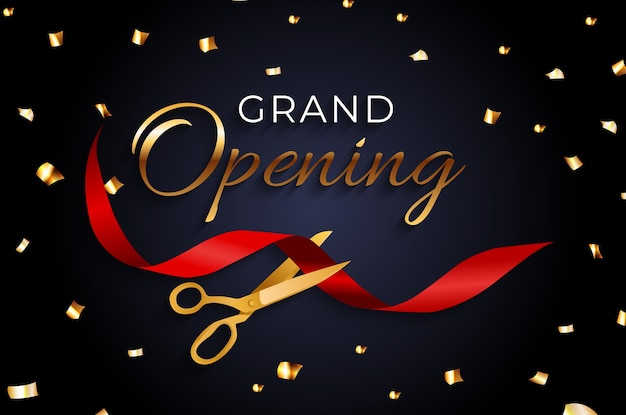 Grand opening card with ribbon and scissors background.