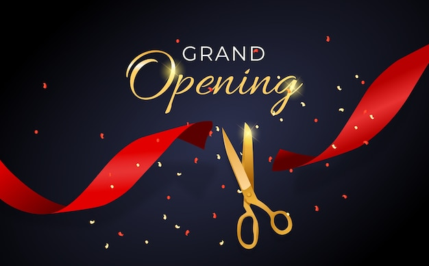 Grand opening card with ribbon and scissors background