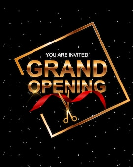 Grand opening card with ribbon .