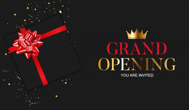 Grand opening card with ribbon