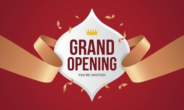 グランドオープンお祝いバナー招待状発表イラスト Premiumベクター