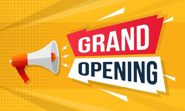 Grand opening celebration banner invitation announcement illustration