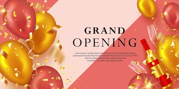 Grand opening ceremony banner with realistic glossy balloons, wine glass, wine bottle and confetti
