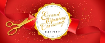 Grand opening ceremony, best party red banner with text on white circle and gold scissors
