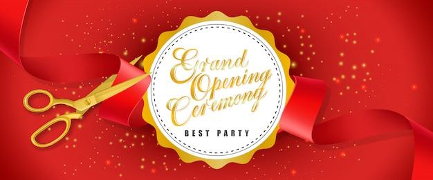 グランドオープニングセレモニー、白い円とゴールドハサミのテキストのベストパーティー赤いバナー