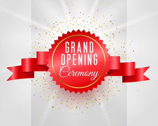 Grand opening ceremony celebration banner with 3d ribbon