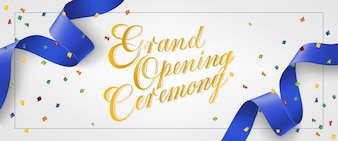 Grand opening ceremony festive banner in frame with confetti and blue streamer