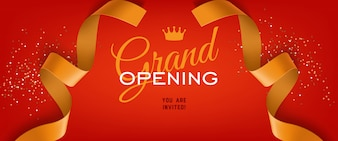 Grand opening ceremony festive banner lettering with crown