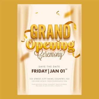 Grand opening ceremony flyer or template design with event details for advertising