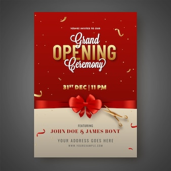 Grand opening ceremony invitation card closed with red bow ribbon and golden scissors