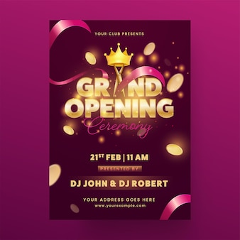 Grand opening ceremony invitation card with lights effect