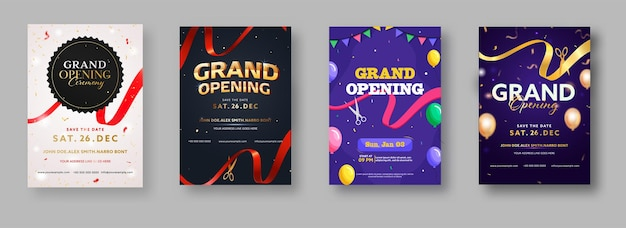 Grand opening ceremony invitation or flyer design in four color options Premium Vector