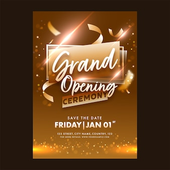 Grand opening ceremony invitation or flyer design with lights effect in bronze color Premium Vector
