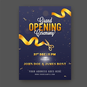Grand opening ceremony invitation template layout in blue color Premium Vector