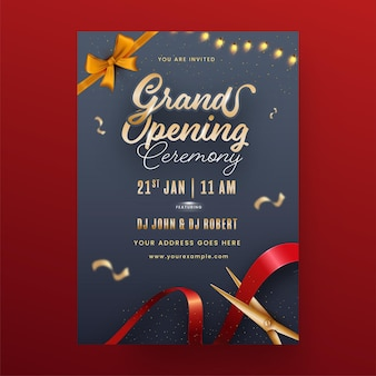 Grand opening ceremony invitation template layout with event details Premium Vector