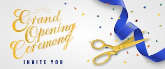 Grand opening ceremony, invite you festive banner with confetti and gold scissors