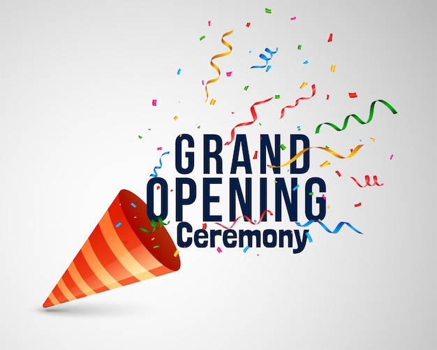 Grand opening ceremony lettering with confetti and cap