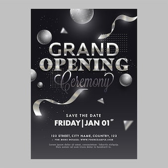Grand opening ceremony template or flyer design with 3d spheres in black color