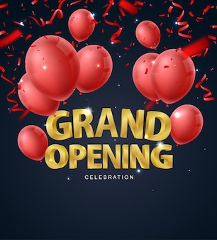 Grand opening ceremony with red balloon gold and confetti