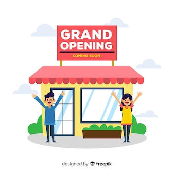 Grand opening coming soon in flat design